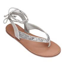 [*]] Silver Glitter Embellished Lace-up Flat Sandals