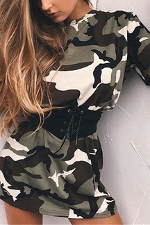 Random Camouflage Short Sleeves Round Collar Mini Dress