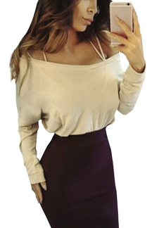 Khaki  Round Neck Long Sleeves Causal T-shirt