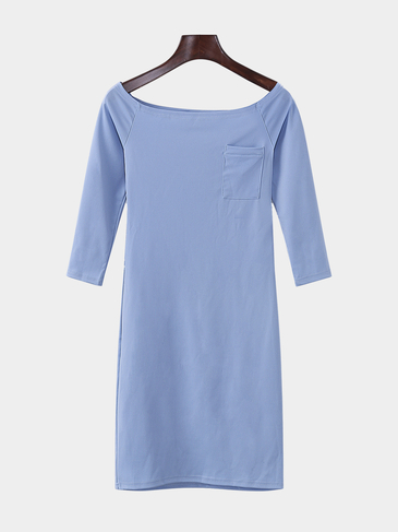 Light Blue Off-shoulder Triangle Bodycon Dress