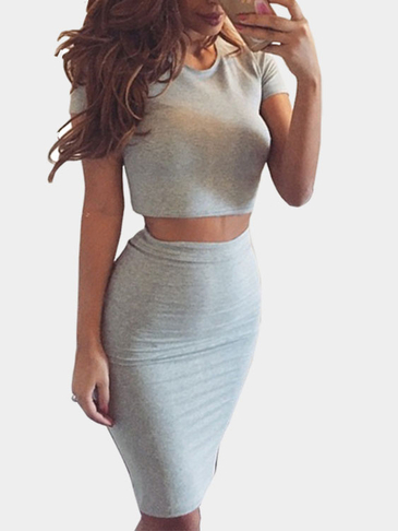 Round Neck Crop Top & Midi Length Skirt Two Piece Outfits