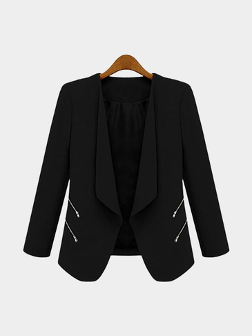 Black Long Sleeves Open Front Zipper Details Blazer