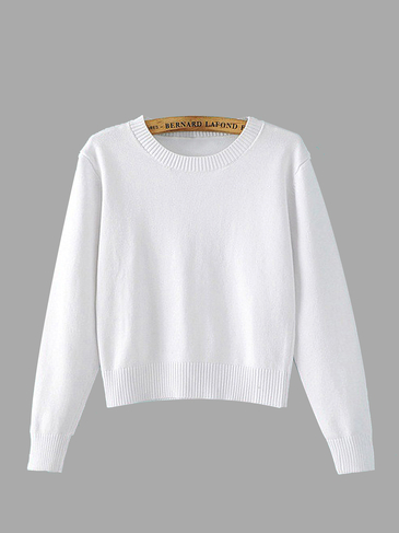 Long Sleeve Cropped Sweater in White