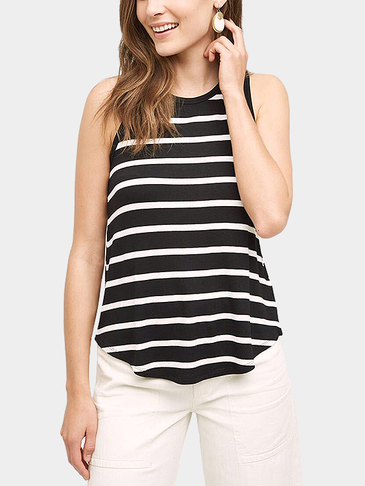 Sleeveless Round Neck Stripe Pattern Curved Hem Top