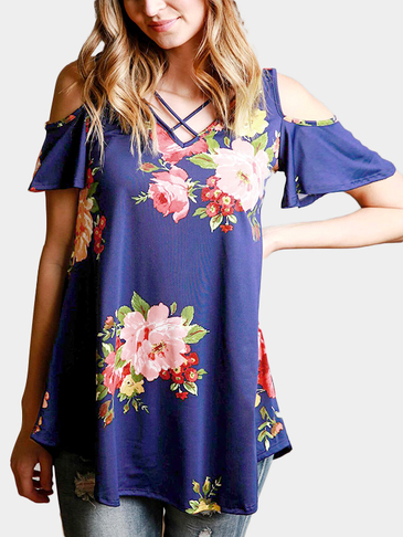 Blue Random Floral Print Cold Shoulder V-neck Strappy Details Top
