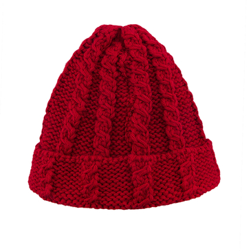 Red Cable Knit Beanie Mütze