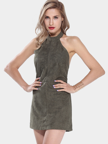 Limousine Swoon Olive Green Halter Kleid