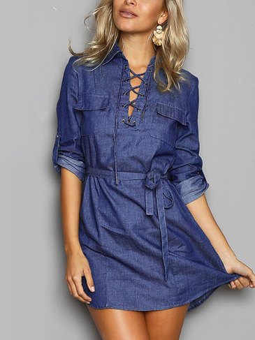 Blue Denim Lace-up Mini vestido con correa