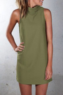 Army Green High Neck Sleeveless Mini Dress