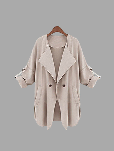 Khaki Lapel Collar Loose Fit Trench Coat