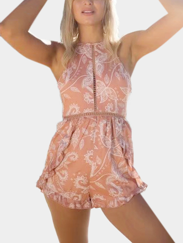 Halter Neck Open Back Random Floral Print Playsuit