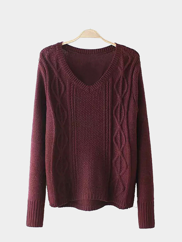 V Neck Cable Knit Jumper in Burgundy