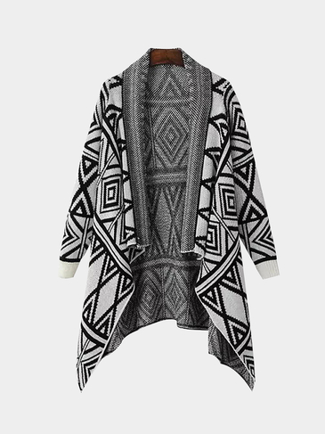 Geometric Print Long-Sleeve Knitted Cardigan