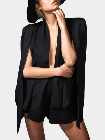 Collarless Cape Blazer in Black