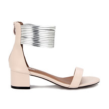 Pink Leather Look Zip Closure Block Heel Sandals With Gold Circles