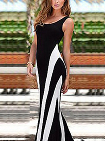 Stripe Pattern Back Hollow Out Sleeveless Maxi Dress