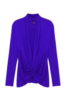 Blue Top with Wrap Front in Crepe