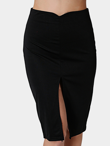 Black Bodycon High-waisted Splited Hem Midi Skirt