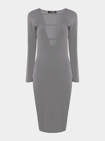 Grey Body-Conscious Dress with Sexy Strap
