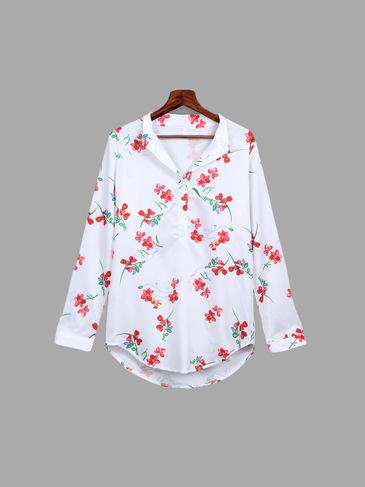 Random Floral Pattern Chiffon English Collar Shirt