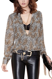 Deep V-neck Chiffon Shirt in Leopard Print