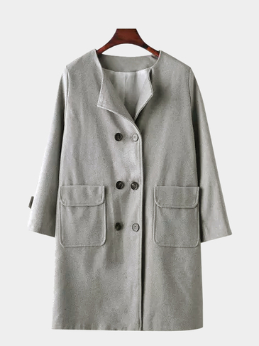 Grey Round Collar Double Breasted Duster Coat with Flap Pocket