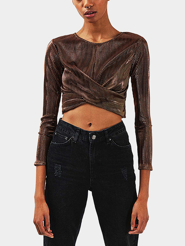 Gold Cross Front Round Neck Crop Top