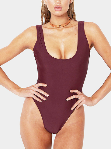 Burgundy Sexy Scooped Neckline & Backless Swimwear