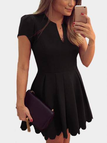 Black V-neck Dress with High-waisted Design