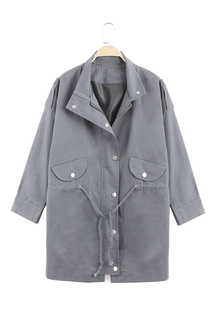 Gray Trench Coat With Drawstring Waist