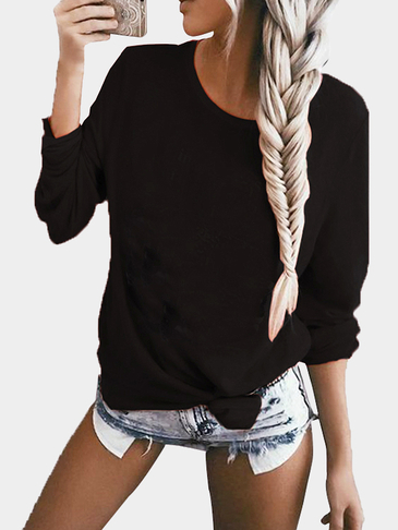 Negro Casual Knit Scoop Neck Sweater con bolsillo