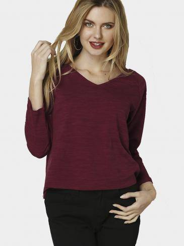 Burgundy Knitted Sexy V Neck Long Sleeves T-shirt