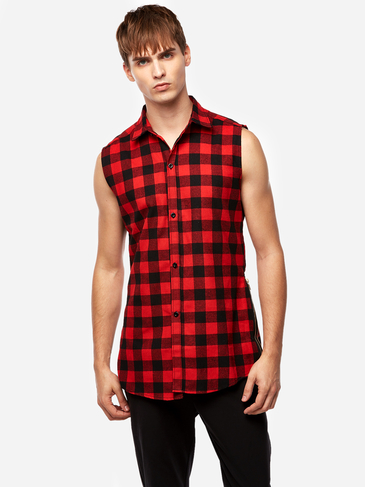 Street Style Red Grid Zipper Design Classic Collar Sleeveless High-low and Splited Hem Men's Tank