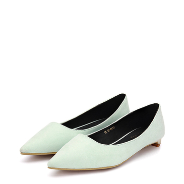 Light Green Suede Pointed Toe Flat Shoes