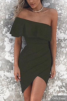 One Shoulder Asymmetrical Bodycon Mini Dress in Army Green