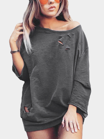 Dark Grey Loose Round Neck Long Bat Sleeve Fashion Hole Sweatshirt