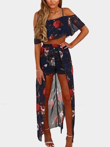 Moda Random Floral Print Cold Shoulder Playsuit
