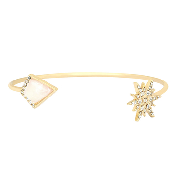 Geo and Starburst Open Bangle Bracelet