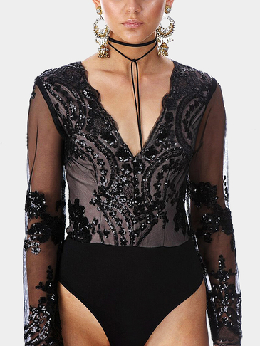Black Long Sleeves Embroidered Sequin Sexy Bodysuit