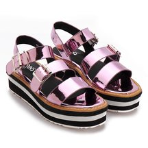 Pink Metallic Twin Pin Buckle Strap Open Toe Platform Flat Sandals