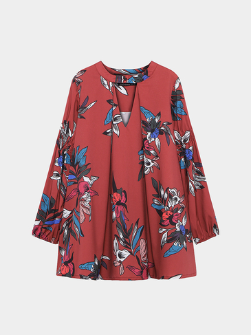 Floral Print Long Sleeves Shirt Dress in Burgundy