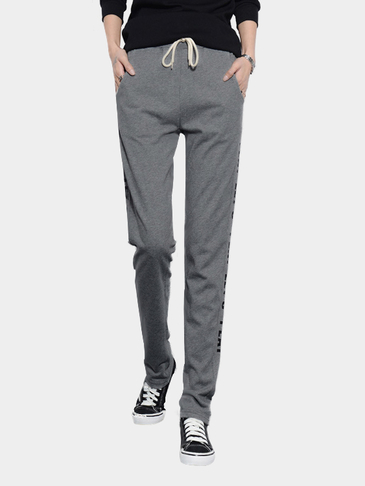 Dark Gray Letter Pattern Trousers