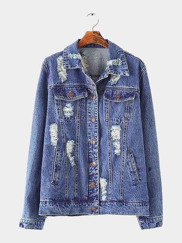 Denim Coat with Rips