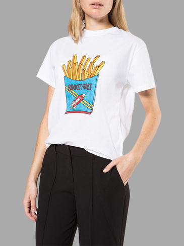 White Crew Neck French Fries Print Tee