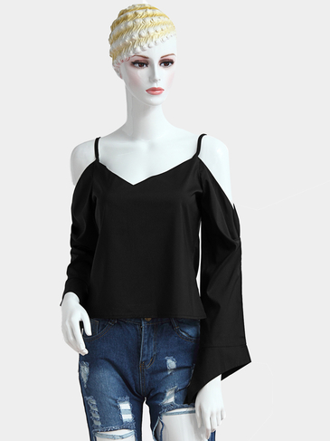 Black Plunging V-neck Cold Shoulder Long Sleeves T-shirt