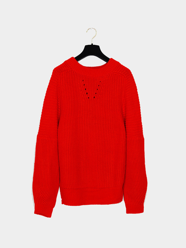 Boyfriend Style Ribbed Knit Jumper in Red