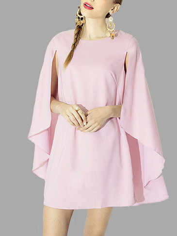 Pink Chiffon Loose Bat Sleeves Cape Shawl Top