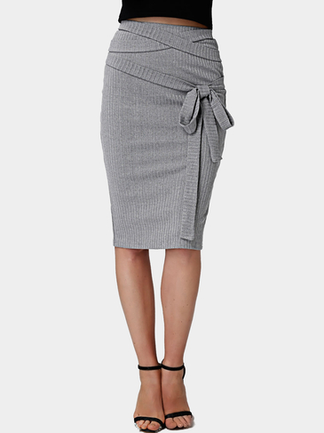 Grey Bodycon Strap Stretch Waistband Midi Pencil Skirts
