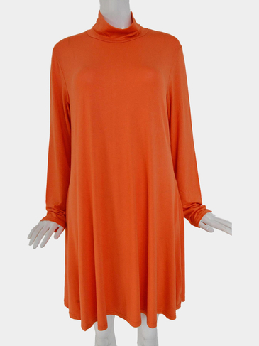 Plus Size High Neck Swing Dress in Orange