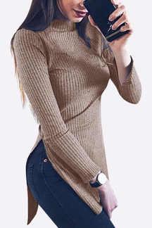 Coffee Fashion Crew Neck Splited Midi Long Sleeves Jumper